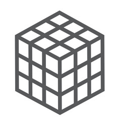 math cube line icon block and geometric vector image