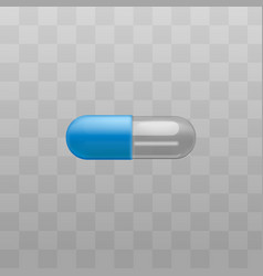 medical drug blue and transparent capsules vector image