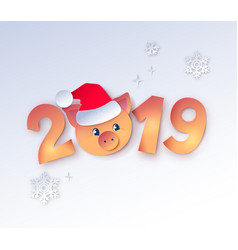 New year numbers with cute piggy vector