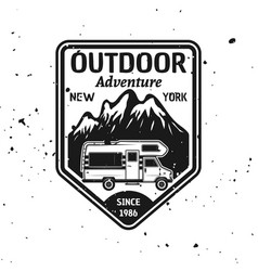 outdoor camping emblem with camper van vector image