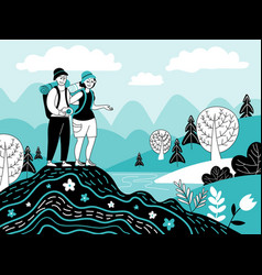 people looking nature men adventure couple vector image
