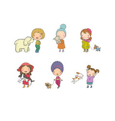 People with pets cute cartoon women with dogs vector