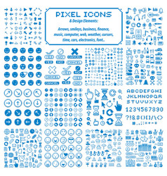 Pixel icons isolated collection 8bit graphic vector
