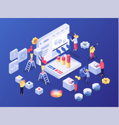 project elaboration isometric poster vector image