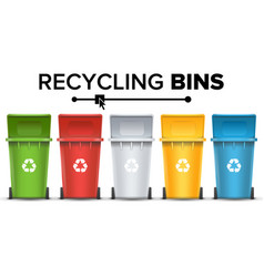 Recycling buckets for trash set red vector