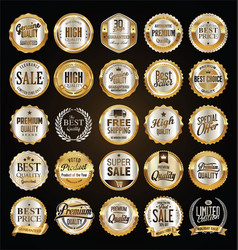 Retro labels and badges gold and silver vector