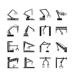 Robot arm icons Industrial manufacturing assembly vector