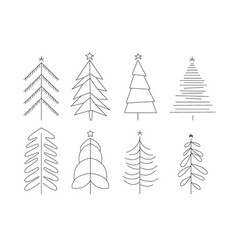 set christmas trees different shapes simple vector image