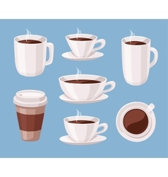 Set of Cartoon Style Coffee Cup vector