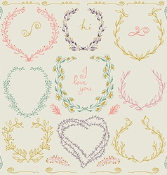 Set of hand drawn floral frame and lines border in vector