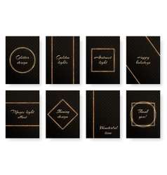 set of postcards with gold frames vector image