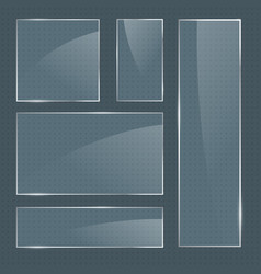set of realistic glossy square glass frames vector image