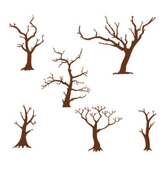 set silhouettes trees vector image