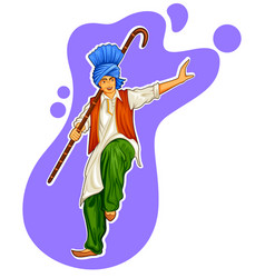 Sikh punjabi sardar doing bhangra dance on holiday vector