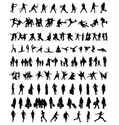 silhouettes people 2 vector image