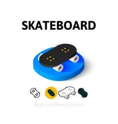 Skateboard icon in different style vector