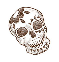 Skull with flower monochrome sketch outline in vector