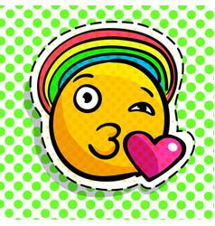 Smile in love emoticon vector