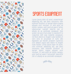 sport equipment concept with thin line icons vector image