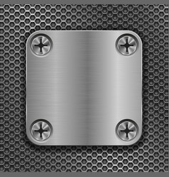 Square metal plate on perforated background vector