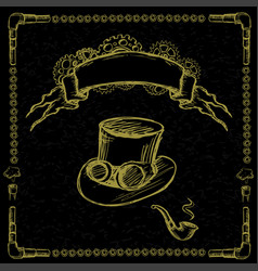 steampunk gear pipe hat vector image