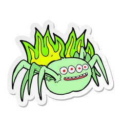 Sticker of a cartoon spooky spider vector