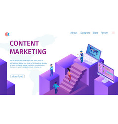 strategy content marketing manager flat banner vector image