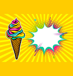 Summer sweet food pop art comic book vector