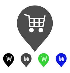 supermarket cart marker flat icon vector image