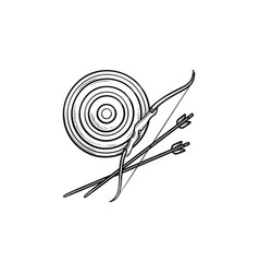target bow and arrows hand drawn outline doodle vector image