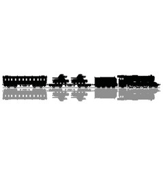 the silhouette of a vintage military steam train vector image