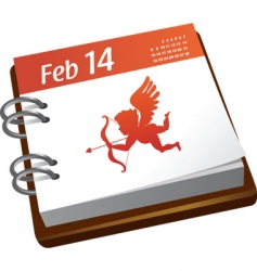 Valentines calendar with cupid vector