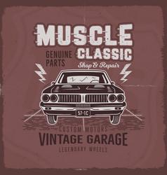 Vintage hand drawn muscle car t shirt design vector