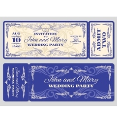 Vintage ticket wedding invitation vector