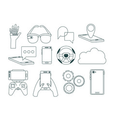 Virtual reality technology set icons vector