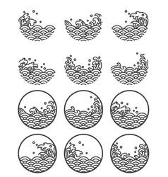 water wave line logo symbols vector image