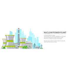 white banner with nuclear power plant vector image