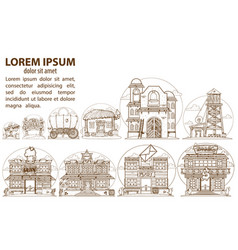 Wild west game background buildings and household vector