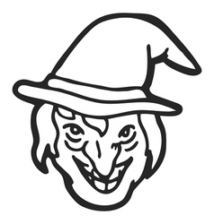 Witch face doodle vector