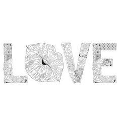 Word love with lips silhouette decorative vector