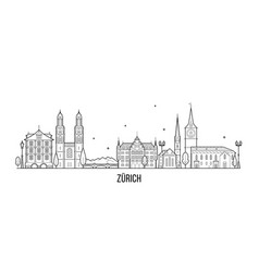 zurich skyline switzerland city buildings vector image