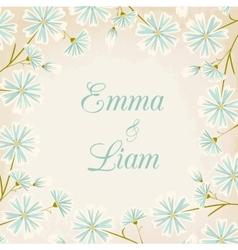 Daisy flowers round border wedding card template vector image