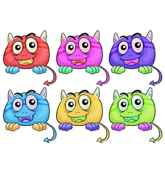 Six colorful monster heads vector image