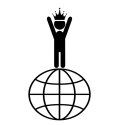 King of the World Win Leader People Flat Icons vector image