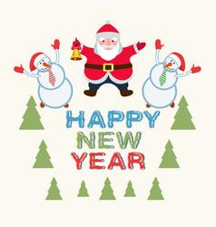 santa claus and snowmen vector image vector image