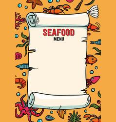 seafood restaurant menu in cartoon style vector image vector image