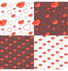Seamless backgrounds with hearts and lips vector image vector image