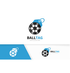 soccer and tag logo combination ball and vector image vector image