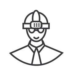 worker with helmet line icon sign vector image vector image
