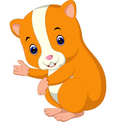 cute hamster waving hand vector image vector image